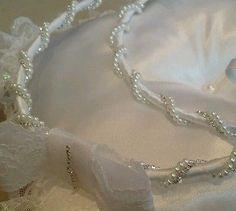 Stefana + Pillow + box case. Handmade Greek Wedding Crowns / Tiaras