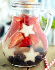 Red White & Blueberry Agave Sangria  Ingredients  1 fresh pineapple, peeled and cut into long, wide strips for forming star shapes 1 cup fresh blueberries 1 1/2 cups strawberries, hulled and sliced 1 (750 mL) bottle dry white wine (Sauvignon Blanc or Chardonnay) 1/2 cup white rum 1/2 cup C® Organic Light Agave Nectar 1 (1 liter) bottle lemon-lime seltzer (or club soda)