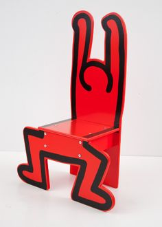 Keith Haring Wooden Child's Chair in Red