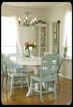 white table with aqua chairs by FutureEdge