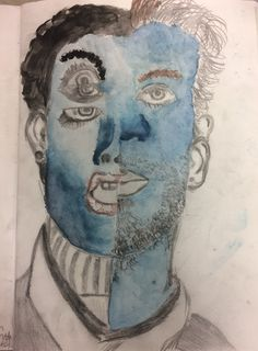 Emma, expressive portrait inspired by Picasso cubist portraits for the Y9 'This is Me' Project. St Marys Catholic High School.