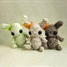 A cute trio of amigurumi Woodland Bunnies