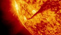 Sunny with a Chance of Wild Space Weather Solar eruptions showing a blend of 304 and 171 Ångström light imaged by the Solar Dynamics Observatory's AIA instrument. Credit: NASA's Goddard Space Flight...