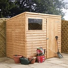 8ft x 6ft Overlap Pent Wooden Flat Roof Storage Shed - Brand New 8x6 Wood Sheds: Amazon.co.uk: Garden & Outdoors
