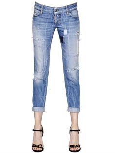 DSQUARED2 - PAT WASHED & DESTROYED DENIM JEANS - LUISAVIAROMA - LUXURY SHOPPING WORLDWIDE SHIPPING - FLORENCE