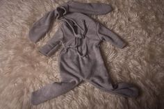 Up cycled,Newborn,Baby Boy, photography Prop,Light Grey,Hooded,Onesie footed Bunny romper,long sleeved,Warm,medium weight wool,Made by me. Onesie Pattern, Long Sleeve Romper, Baby Boy Newborn, Photography Props, Upcycle, Onesies, Sewing Patterns, Bunny, Rompers