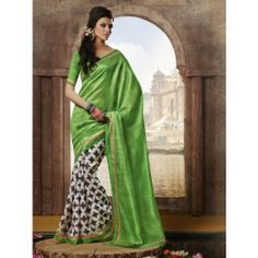 Online Shopping for Light Green Color Bhagalpuri Fabric | Designer Sarees | Unique Indian Products by Art of Styling - MART 97281694370