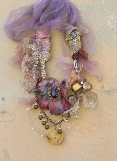 desert flower--  delicate, bold, rustic, tribal influenced necklace from vintage and antique textiles
