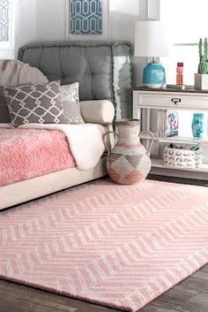 Rugs USA Pink Tuscan Viga Chevron rug - Contemporary Rectangle 7 6 x 9 6 Chevron Rugs, Cute Bedroom Ideas, Tuscan Design, Mediterranean Home Decor, Tuscan Decorating, Teen Girl Bedrooms, Rugs Usa, Contemporary Rugs, New Room