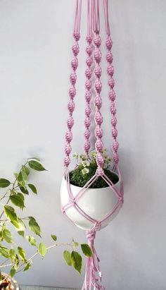 Modern Macrame plant hanger-indoor plant holder-Hanging Planter-Hanging Basket-beaded macrame basket-macrame pot hanger-Bohemian macrame