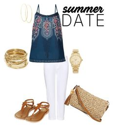 """""""Summer Date"""" by lydia-cassady on Polyvore featuring J Brand, Monsoon, Topshop, ABS by Allen Schwartz, Michael Kors, Lana and Straw Studios"""