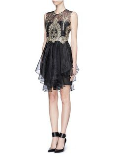 NOTTE BY MARCHESA - Metallic embroidery organze dress | Black Cocktail Dresses | Womenswear | Lane Crawford - Shop Designer Brands Online