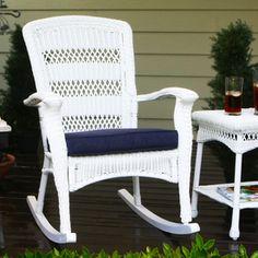 Tortuga Outdoor Portside Coastal White Wicker Patio Rocking Chair Psr-