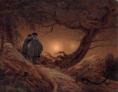 "Zwei Männer in Betrachtung des Mondes (""Two Men Contemplating the Moon"") by Caspar David Friedrich, 1819-20.  Gemäldegalerie Alte Meister, Dresden, Germany."