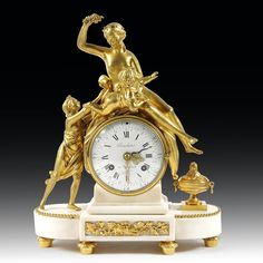 #Clock #LouisXVI in #gilt #bronze and white #marble. The circular movement is…