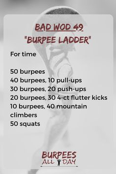 WOD – Burpee Ladder If you're struggling with this WOD, modify the exercises to make it manageable. Murph Workout, Hiit Workout At Home, Workout Routine For Men, Gym Workout Tips, Home Exercise Routines, Travel Workout, Easy Workouts, Burpees Workout, Pull Up Workout