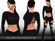 The Sims Resource: Long Sleeve Back Detail Crop Tops by Saliwa • Sims 4 Downloads