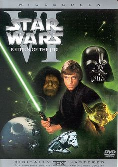 """Star Wars VI: Return of the Jedi (1983) directed by George Lucas, starring Mark Hamill, Harrison Ford, Carrie Fisher, Billy Dee Williams, Anthony Daniels, Peter Mayhew, Sebastian Shaw, Ian McDiarmid, Frank  Oz, James Earl Jones, David Prowse, Alec Guinness and Kenny Baker. """" After rescuing Han Solo from the palace of Jabba the Hutt, the Rebels attempt to destroy the Second Death Star, while Luke Skywalker tries to bring his father back to the Light Side of the Force."""""""