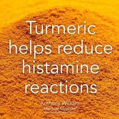 """""""Turmeric helps reduce histamine reactions Learn more about the healing powers of turmeric in…"""" Health Facts, Health And Nutrition, Health And Wellness, Health Tips, Health Benefits, Healing Herbs, Natural Healing, Holistic Healing, Natural Medicine"""