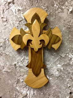 CTC51 Handcrafted Cypress Wood Tri Layered Cross / Fleur De Lis Wall Hang Home Decor by CajunCountryCreat on Etsy