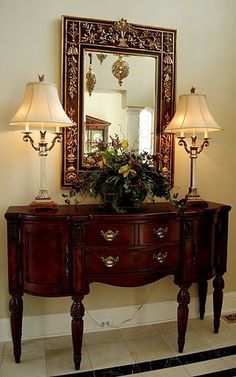 Foyer Tables - Lovely piece for formal foyer Love this style--the curve at the bottom softens it; drawer space and door storage Foyer Decorating, Tuscan Decorating, Interior Decorating, Interior Design, Traditional Decorating, Decorating Ideas, Flur Design, Home Design, Foyer Furniture