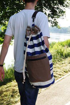 SAC marin / sac à dos. Sac marin en tissu coton rayé marine. Sac d'été pour les hommes.Sac de sport.Sac de sport. Poignée supplémentaire facile à nettoyer