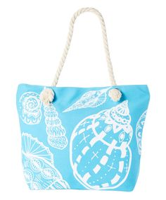 Another great find on #zulily! Teal & White Seashell Tote #zulilyfinds