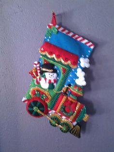 Snowman Train Christmas Stocking on Etsy, $85.00