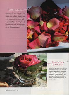 roos in een glas - ouderwetse bowlglaasjes, borrelglaasjes of een chique wijnglas prachtig met een enkele roos er in. | Losse rozenblaadjes in een mangelbak of diep dienblad. De blaadjes blijven enkele uren mooi, daarna drogen ze in. Gebruik ze dan voor een potpourri.