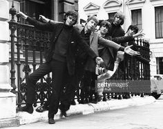 Portrait of English band 'The Yardbirds' swinging on a railing; Paul Samwell-Smith, Chris Dreja, Jim McCarty, Keith Relf and Geoff Beck, London, 1965. Get premium, high resolution news photos at Getty Images