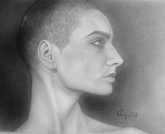 Graphite portrait of Sinead O'Connor by artist Talya Dunleavy