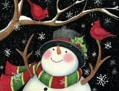 Snowman With Cardinals Holiday Christmas Cards Christmas Canvas, Christmas Paintings, Christmas Pictures, Christmas Snowman, Christmas Holidays, Christmas Decorations, Christmas Ornaments, Illustration Noel, Frosty The Snowmen