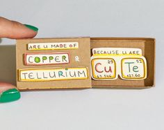 """Witty Valentine's Pun Love card/ Funny Geek Card/ Unique Love Gift/ Chemistry Card/ """"You are so cute"""" Matchbox/Copper & Tellurium/ Valentines Day Sayings, Valentine Day Cards, Matchbox Crafts, Matchbox Art, Love Gifts, Diy Gifts, Handmade Gifts, Handmade Products, Diy Birthday"""