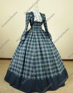 Civil War Victorian Cotton Blends Tartan Ball Gown Dress Reenactment