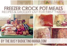 The Busy Budgeting Mama: Freezer Crock Pot Meals- Prep Day Recipes look delicious! Slow Cooker Freezer Meals, Crock Pot Freezer, Crock Pot Slow Cooker, Freezer Cooking, Slow Cooker Recipes, Crockpot Recipes, Cooking Recipes, Freezer Recipes, Dump Recipes