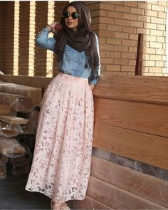 Lace pink skirt with denim shirt-Hijabers fashion looks – Just Trendy Girls