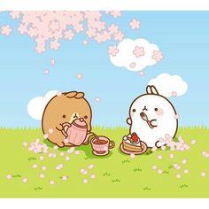 【alute_chan】さんのInstagramをピンしています。 《#molang #kawaii #cute #picknick #cake #friends #sakura #april #cherryblossoms》