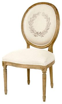 Pair Madeleine French Country Laurel Leaf Oval Back Medallion Dining Chair - Dining Chairs - Kathy Kuo Home