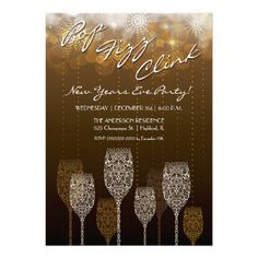 Pop, Fizz, Clink - New Year's Eve Party Invitation — Stylized lacy champagne glasses with abstract fireworks background. Highly detailed with grapes, vines, and bubbles. Super easy to customize with your own information. Great for New Years, Christmas, Anniversaries, or any Celebration. Original Illustration by pj_design.