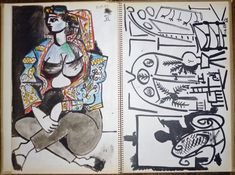 Pablo Picasso Sketchbook - complete portfolio of 40 lithographs in spiral binder (19 printed in colour) after the original sketches - edition of 1000 ex. - New York/ Paris, H.N. Abrams/ Cercle d'Art - 1960, 1000 examples