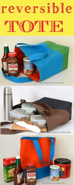 How to Make a Reversible, Lined, Tote Bag - The Seasoned Homemaker  Giggles.  I've been using those flimsy store bought reusable grocery bags as a lunch bag.  I really should make a few of these.
