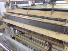 This is one of the looms we use to weave Yesterday's News, Sumatra, and Tahiti, as well as two new wallcoverings coming your way in a couple of weeks! #weave #loom #workinprogress