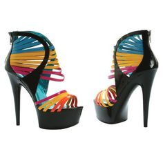 Ooohhh I like! ~ 6 Inch High Heel Sexy Womens Shoes Rainbow Straps Platform Sandals Size: 9 Ellie Shoes
