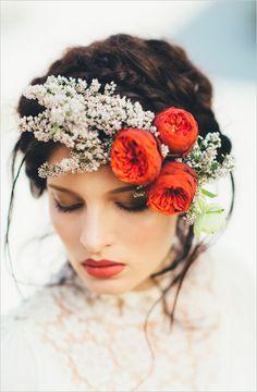 floral wedding headpiece ~  we ❤ this! moncheribridals.com  #floralbridalheadpiece