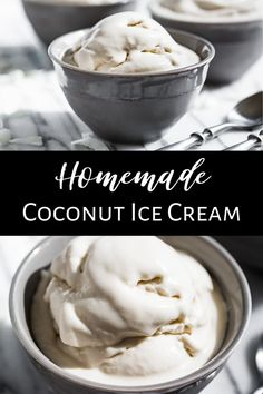 Homemade Coconut Ice Cream is the perfect ice cream for all kinds of summer treats. This recipe is dairy free making it Vegan, Paleo, and Gluten Free. Paleo Dessert, Healthy Dessert Recipes, Healthy Treats, Vegan Desserts, Real Food Recipes, Healthier Desserts, Dinner Recipes, Homemade Coconut Ice Cream, Paleo Ice Cream