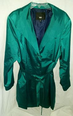 Mossimo Teal Shiny Peacoat Trench Coat Dressy Jacket Lined Plus Size 2X #Mossimo #Trench #Outdoor