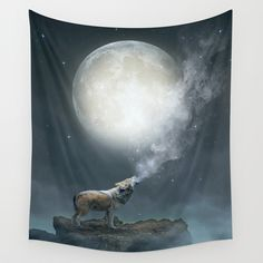 The Light of Starry Dreams (Wolf Moon) Wall Tapestry