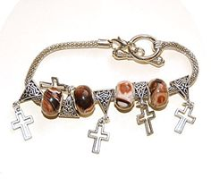 New item (Brown marbled, with cross charms - Bracelet) is available at Rob's Emporium - Retro and Vintage - http://robsemporium.co.uk/shop/robs-emporium/jewellery/bracelets/brown-marbled-european-bead-bracelet-with-cross-charms-1/
