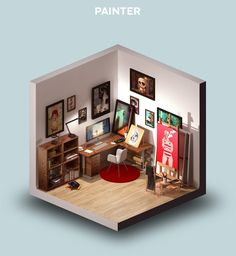 Room of a Painter. Digital Interiors Design and Modern Nomads illustrations. To see more art and information about Petr Kollarcik click the image. Design 3d, Design Case, Game Design, Isometric Art, Isometric Design, Environment Concept Art, Environment Design, Art Isométrique, Low Poly