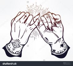 Pinky promise, hand holding. Hands are tattooed. Ghetto and gothic style inspired. Vector illustration isolated. Tattoo design, trendy friendship symbol for your use.